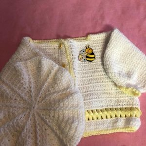 Other - Infant Girl's White Sweater and Hat